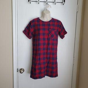 Madewell Edina Plaid Short Sleeve Dress